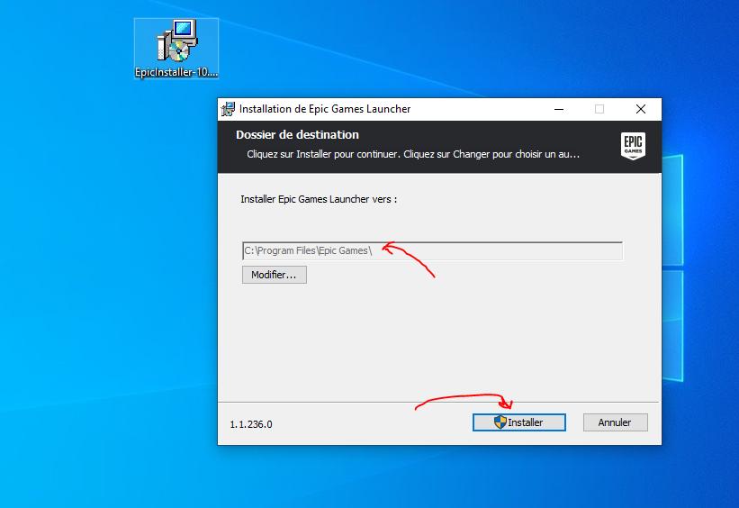 Choisir le dossier de destination d'installation Fortnite PC
