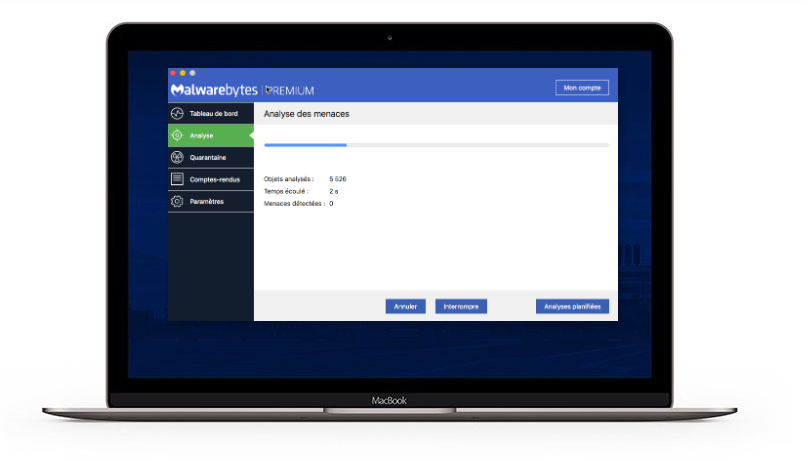 MalwareBytes Analyse complet du system Macbook Pro
