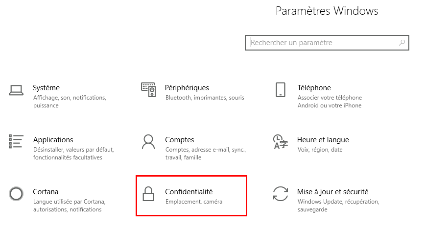 Confidentialité Windows 10
