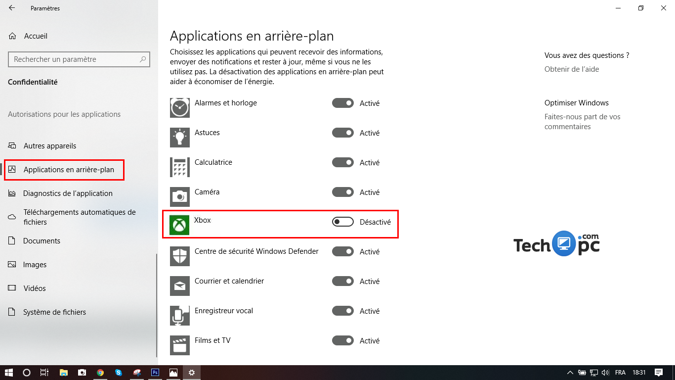 Désactiver Xbox sur Windows 10