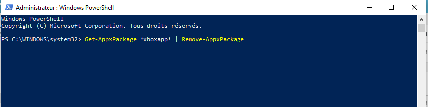 Windows Powershell, Supprimer Xbox de Windows 10