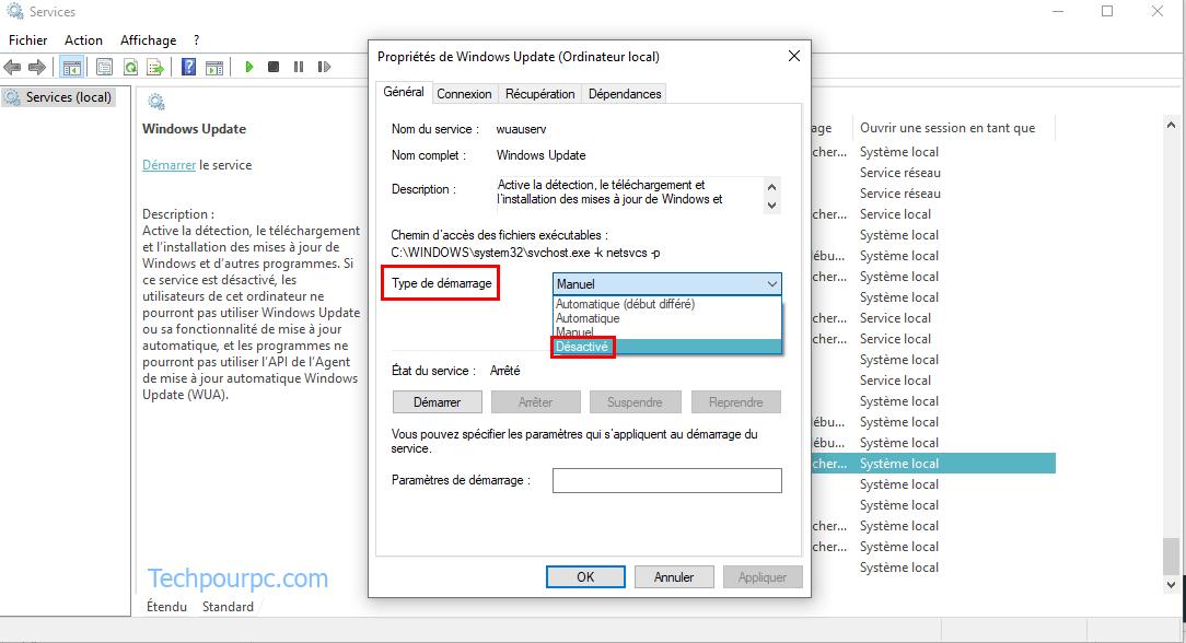Arrêter Mises à jour Windows 10