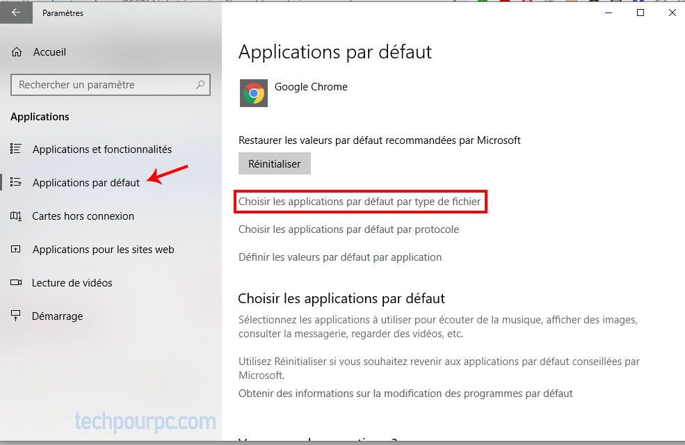 Choisir application par Default windows