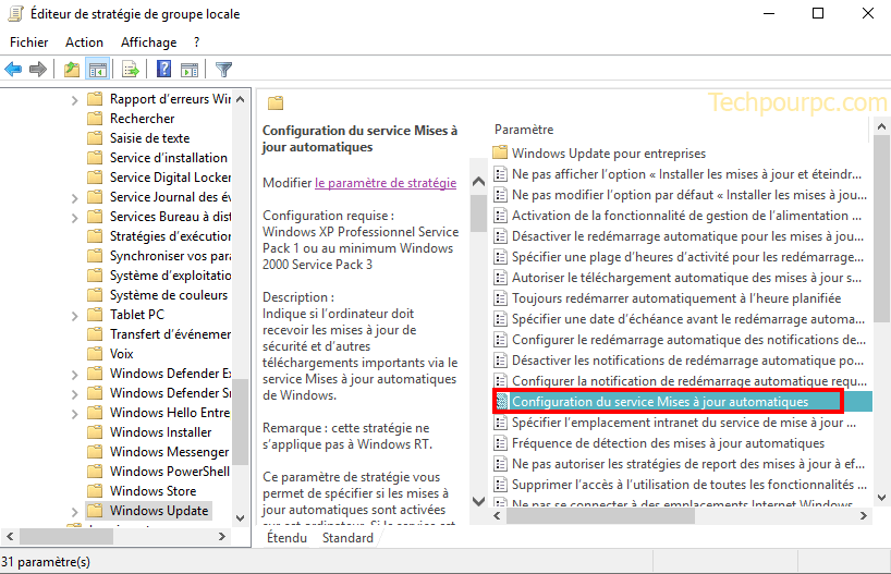 Configurer les mises à jour automatiques windows