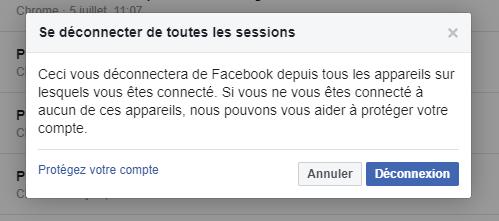 Déconnection Facebook