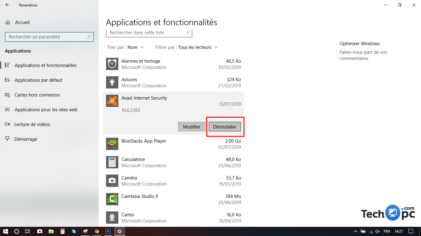 Désinstaller antivirus sur Windows 10
