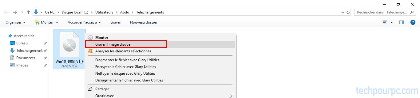Graver image disque iso Windows 10