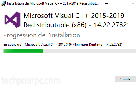 Installation en cours de Microsoft Vistual C++