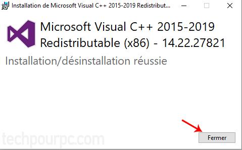 Installation réussi de VC++