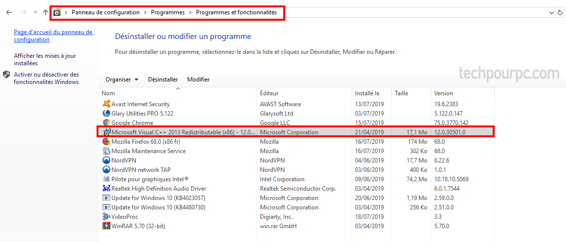 Liste de Programmes Windows 10, Microsoft Visual C++