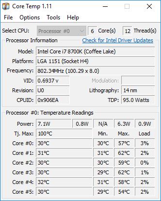 Logiciel température CPU CoreTemp