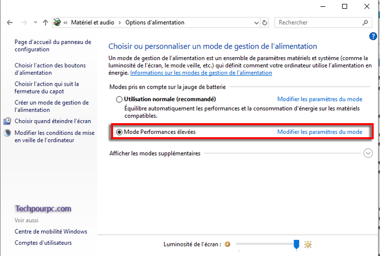 Mode Performance élevées Windows 10