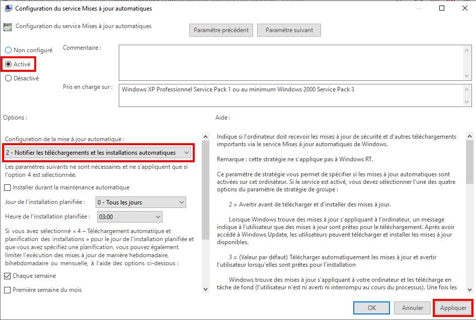désactiver les fenêtres de mises à jour automatiques 10