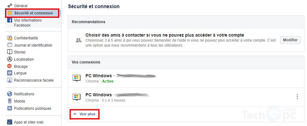 Sécurité et connection Facebook