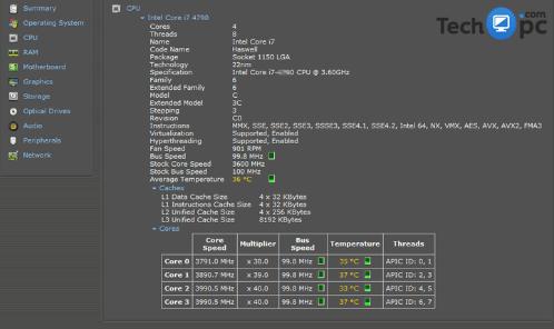 Speccy CPU info