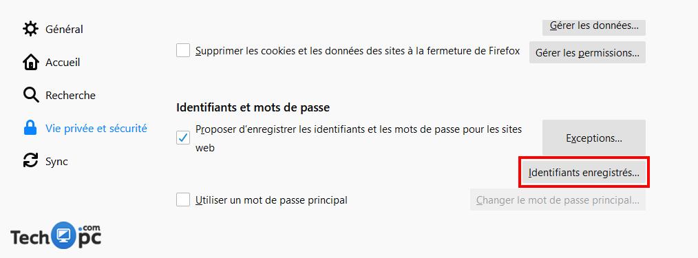 Supprimer mot de passe enregistrer sur Mozilla
