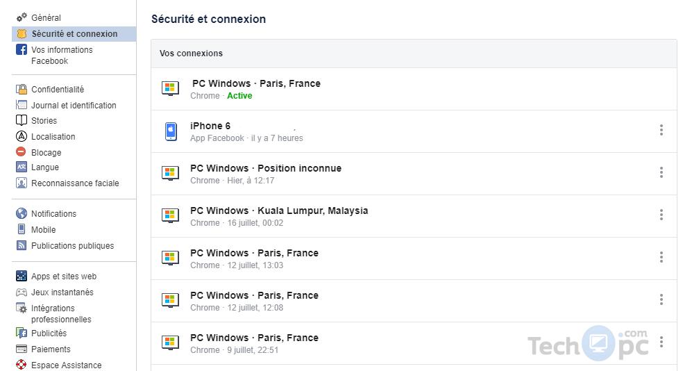 Vos Facebook sessions et connexions actives