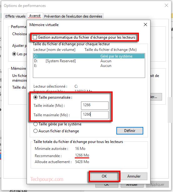 Ajuster l'apparence et performances de Windows 10