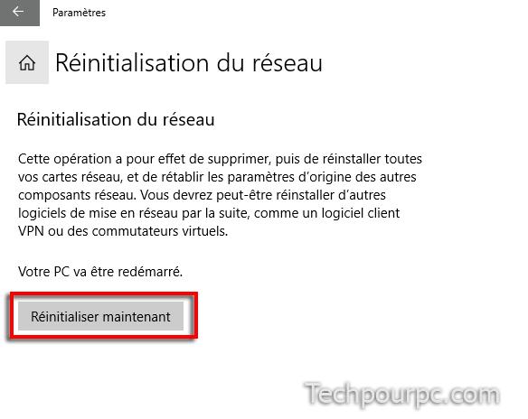 Réinistialisation réseau Windows