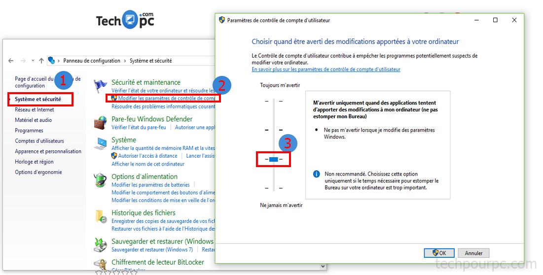 Contrôle du compte d'utilisateur dans Windows 10