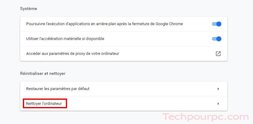 Nettoyer l'ordinateur, L'outil de nettoyage Google Chrome.