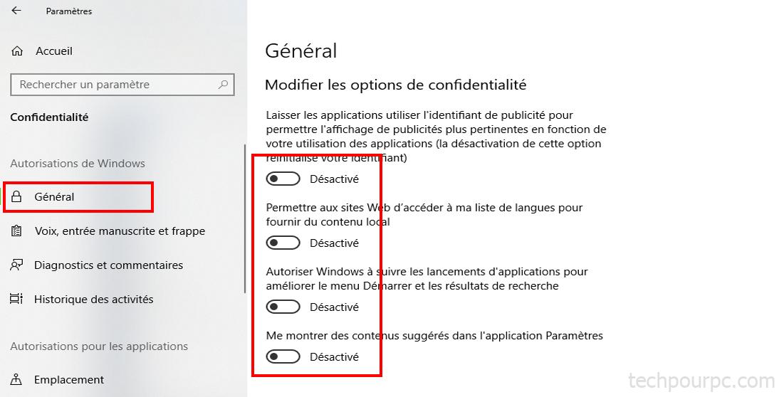 Parametres de confidentialité windows 10