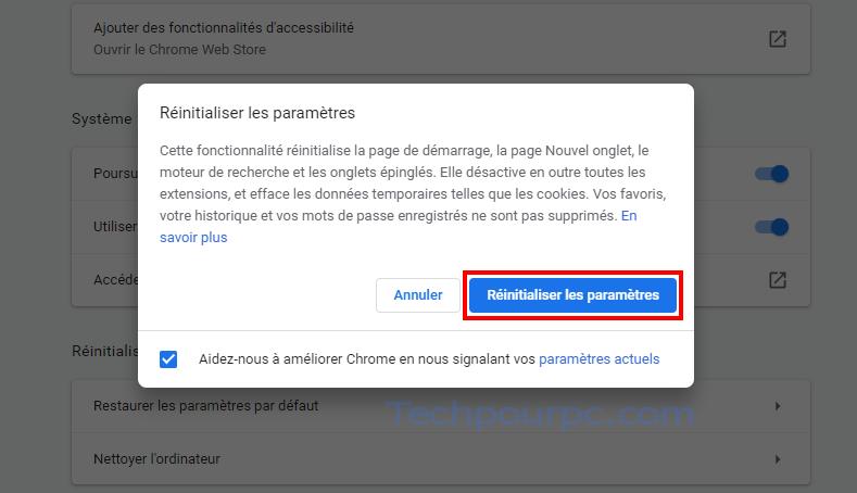 Réinitialiser les parametre Chrome