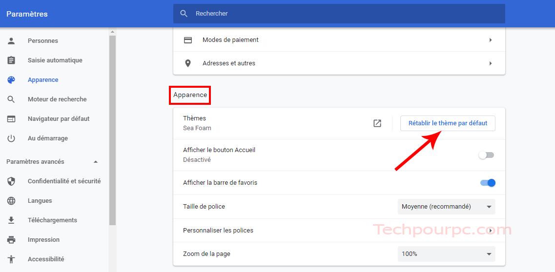 Restaurer le thème Google Chrome