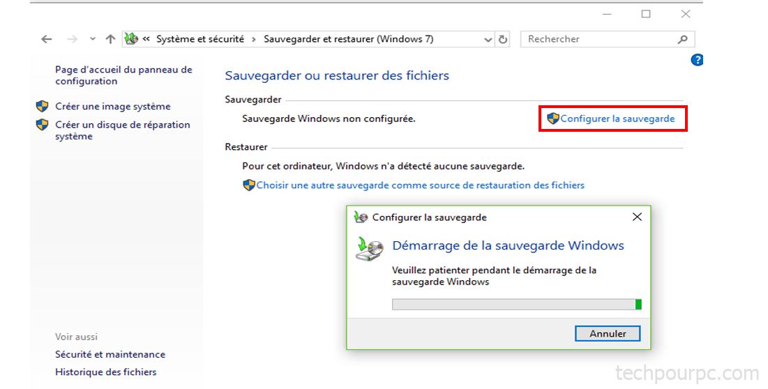 Créer une sauveguarde Windows 10