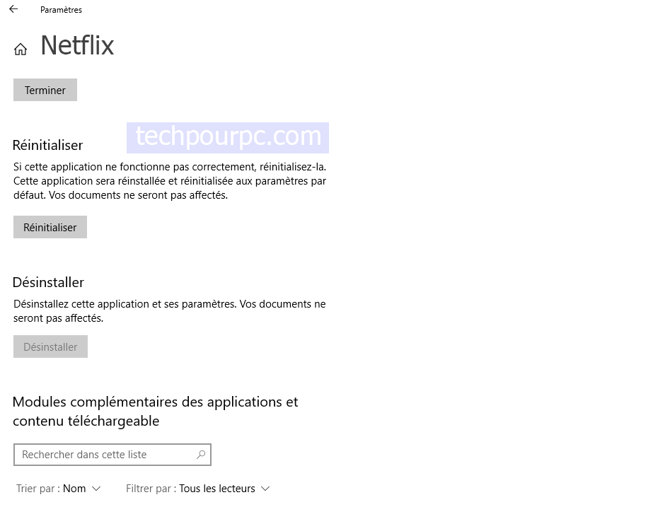Réinisialiser application Netflix Windows 10