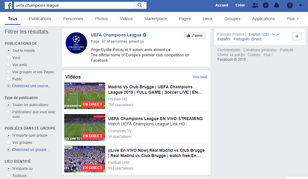 uefa champions league - Sites Streaming Sport