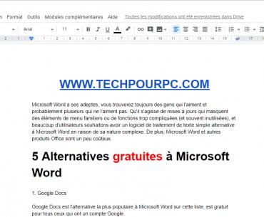 Google Docs Alternative à Microsoft Word