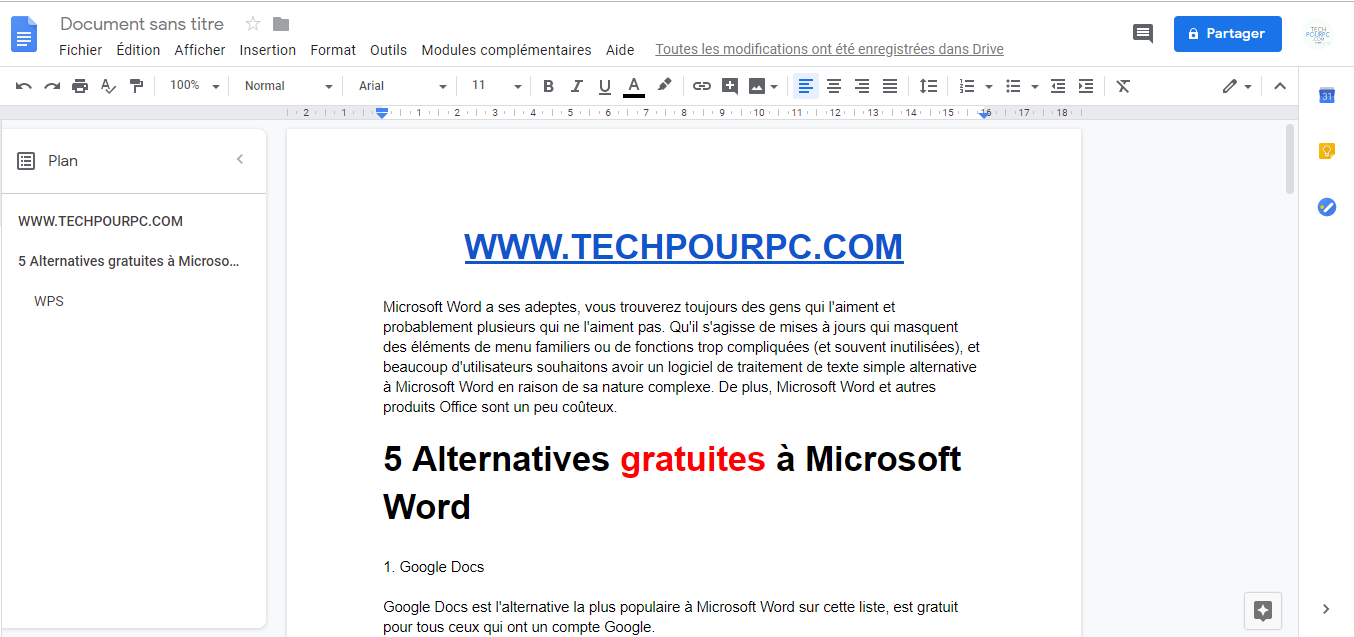 Google Docs Alternative à Microsoft Word