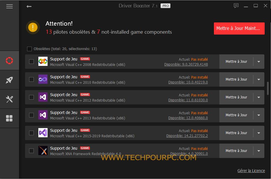 Performances Gaming, Performances jeu Windows 10, Mise à jour composantes de jeu Driver Booster Pro