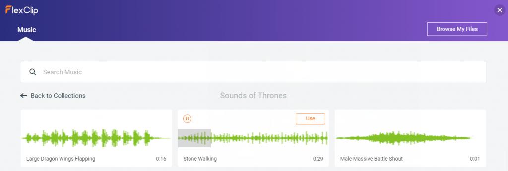 Ajouter musique via Flexclip