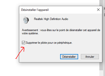 Désinstaller Realtek HD audio Windows 10