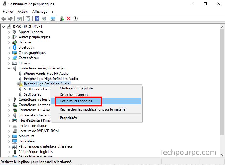 Désinstaller réinstaller Realtek HD audio Windows 10