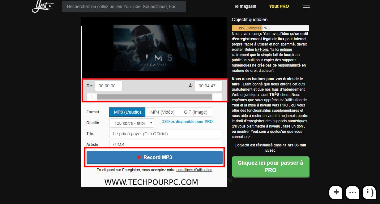 Télécharger Youtube mp3 avec Yout