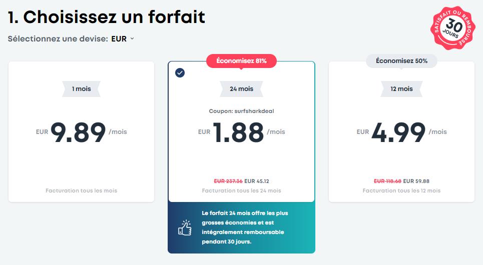 Surfshark VPN prix, Surfshark VPN Tarifs