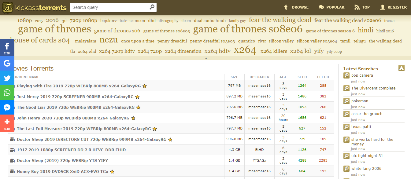 Kickasstorrents, site pour torrents, site de téléchargement torrents