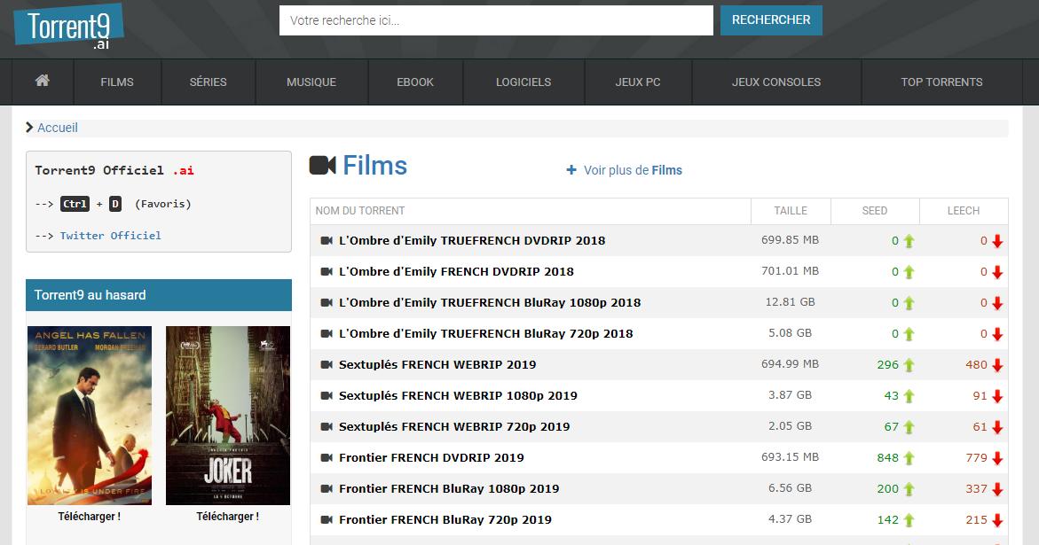 Torrents9, site torrent francais, meilleur site de téléchargement VF et Vostfr