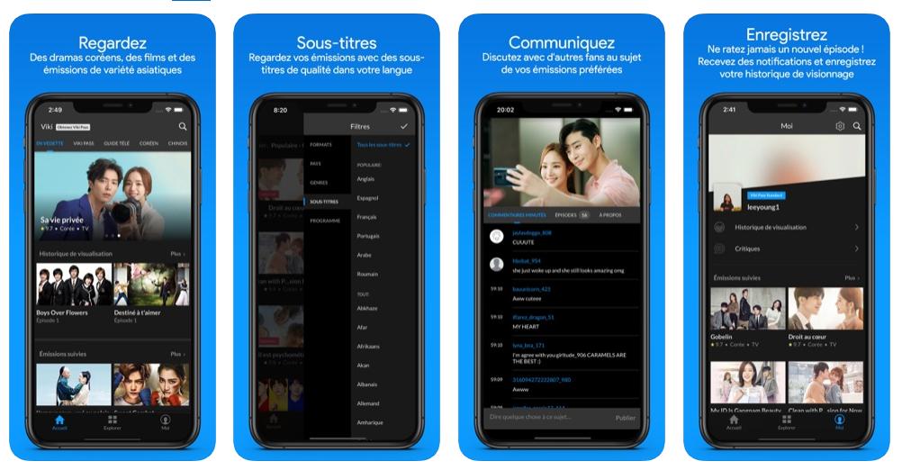 Viki pour regarder la télé sur iPhone, applications Streaming TV iPhone
