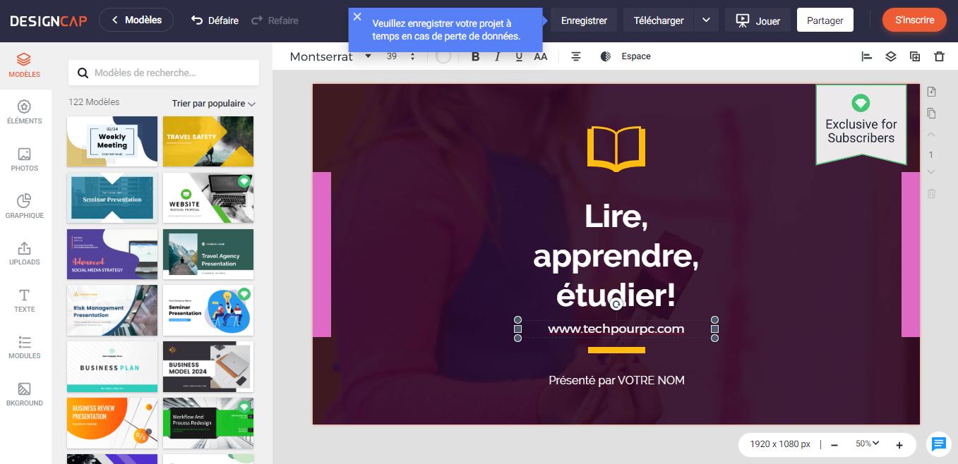 créer une présentation en ligne, créer une présentation avec DesignCap